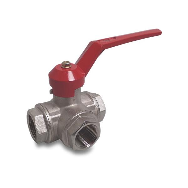 Type 182 brass 3 way side branch ball valves - L boring