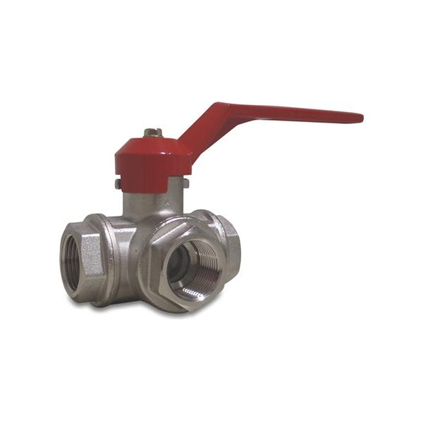 Type 181 brass 3 way side branch ball valves - T boring