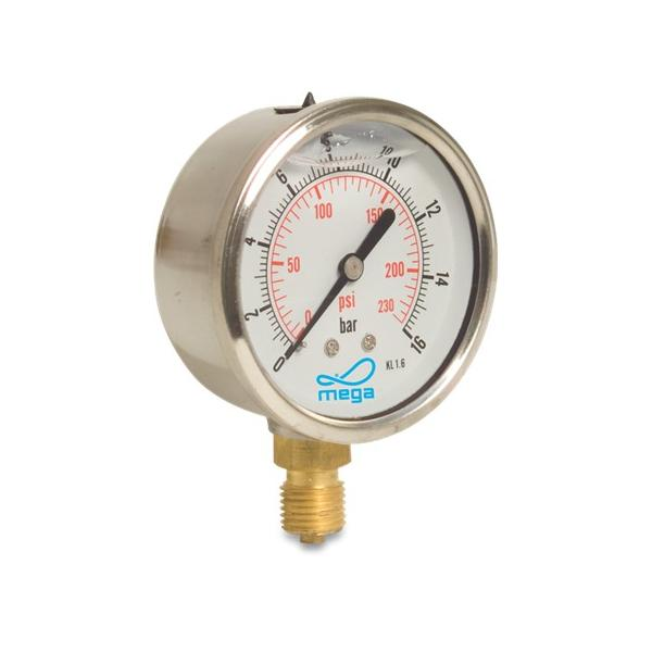 Pressure Gauges - 63mm - Bottom mount - Wet