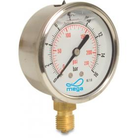 Mega Pressure Gauge - 63mm - Bottom mount - Wet