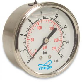 Mega Pressure Gauge - 63mm - Rear mount - Wet