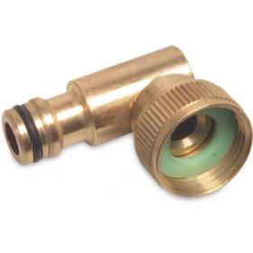 Hoselock type female thread x male click with 90 deg swivel (Brass)