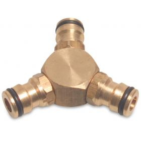 Hoselock type 3-way coupler (Brass)